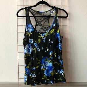 Tops - Floral Tank with Lace Racerback